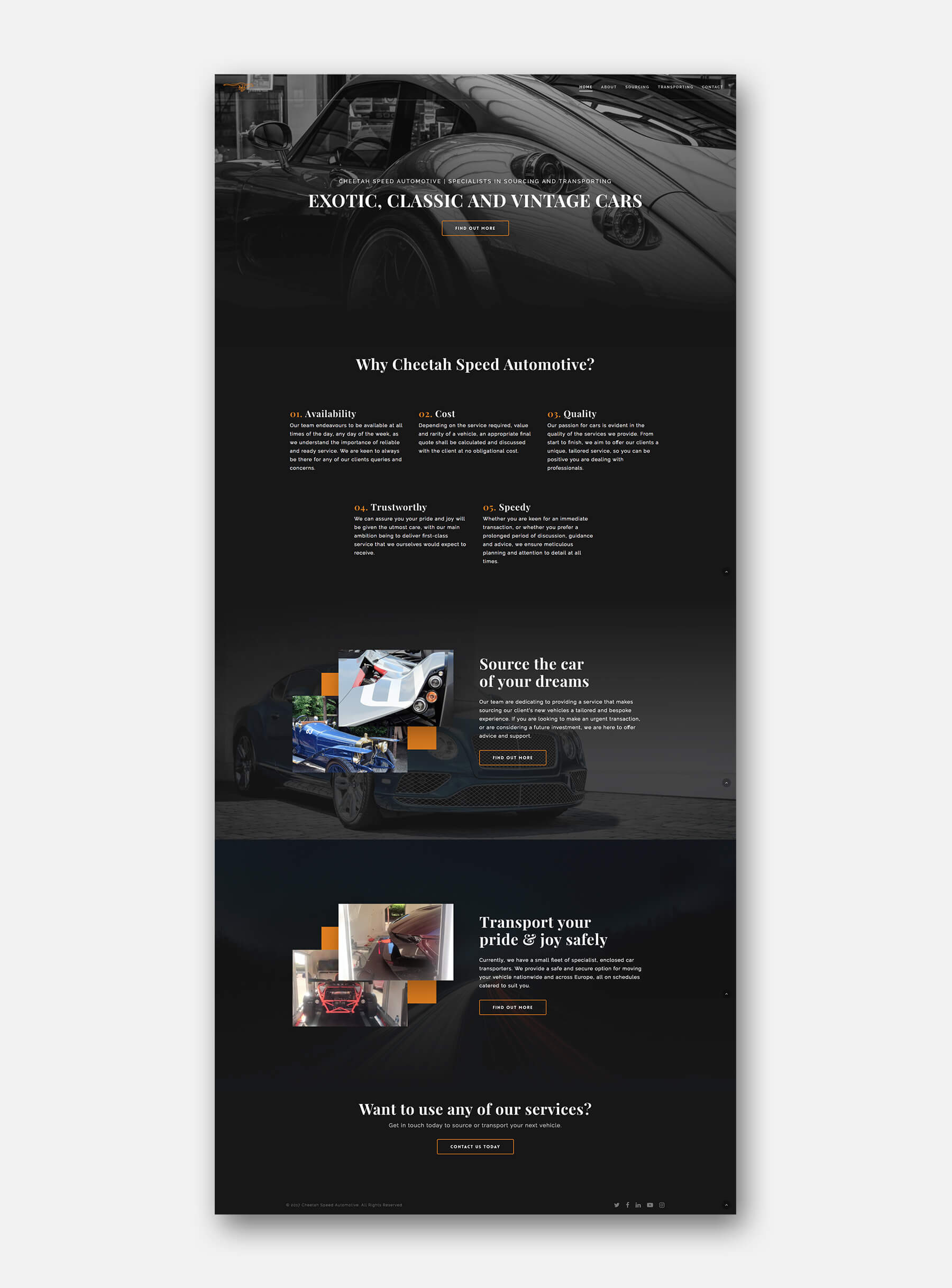 Cheetah Speed Automotive Website Home Page